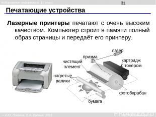Печатающие устройства Лазерные принтеры печатают с очень высоким качеством. Комп