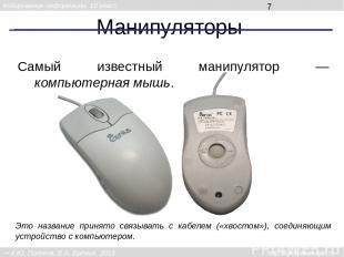 Манипуляторы Это название принято связывать с кабелем («хвостом»), соединяющим у
