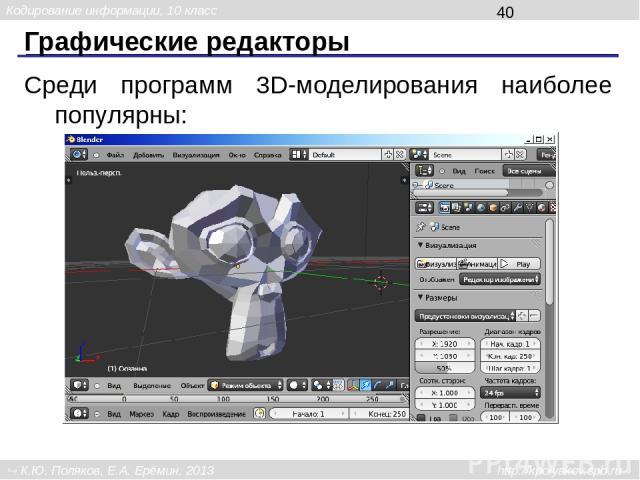 Программа для обработки звука и видео Для обработки звука можно использовать: Audacity Adobe Audition Sound Forge Кодирование информации, 10 класс К.Ю. Поляков, Е.А. Ерёмин, 2013 http://kpolyakov.spb.ru
