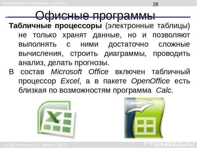 Офисные программы Система управления базами данных (СУБД) служит для поиска информации в базах данных, а также для создания и изменения баз данных. В Microsoft Office входит программа Access, а в пакет OpenOffice – программа Base. Кодирование информ…