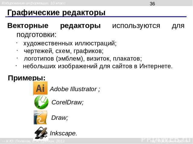 Графические редакторы Среди программ 3D-моделирования наиболее популярны: 3dsMAX Blender Кодирование информации, 10 класс К.Ю. Поляков, Е.А. Ерёмин, 2013 http://kpolyakov.spb.ru