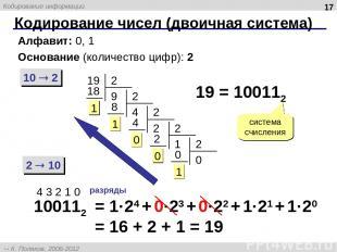 Кодирование чисел (двоичная система) * Алфавит: 0, 1 Основание (количество цифр)