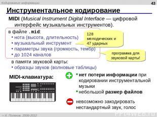 Инструментальное кодирование * MIDI (Musical Instrument Digital Interface — цифр