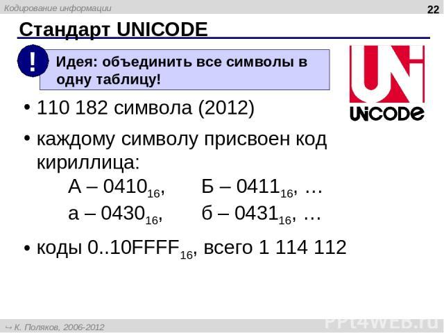 Стандарт UNICODE * 110 182 символа (2012) каждому символу присвоен код кириллица: А – 041016, Б – 041116, … а – 043016, б – 043116, … коды 0..10FFFF16, всего 1 114 112 К. Поляков, 2006-2012 http://kpolyakov.narod.ru Кодирование информации