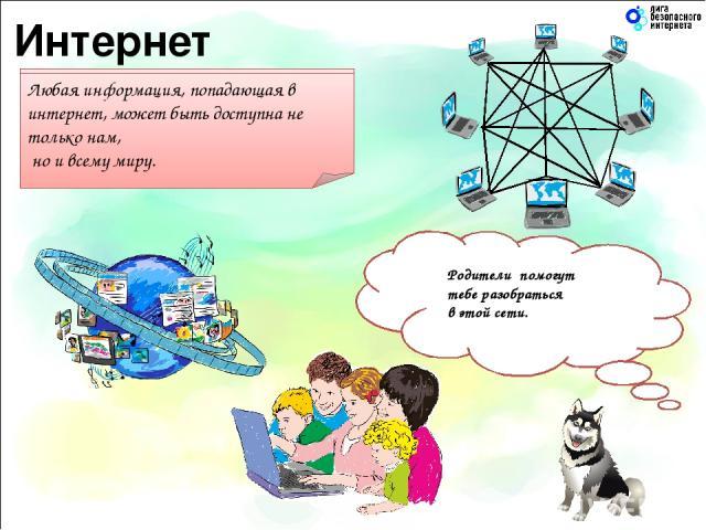 Все компьютеры, которые подключены к интернету, сразу становятся связанными друг с другом. Любая информация, попадающая в интернет, может быть доступна не только нам, но и всему миру. Подумай о том, что ты публикуешь в интернете. Это увидит весь мир…