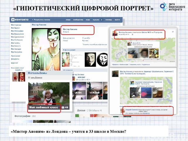 «ГИПОТЕТИЧЕСКИЙ ЦИФРОВОЙ ПОРТРЕТ» «Мистер Аноним» из Лондона – учится в 33 школе в Москве?