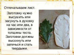 Отпечатываем лист. Заготовку нужно высушить или засунуть в духовку на час или дв