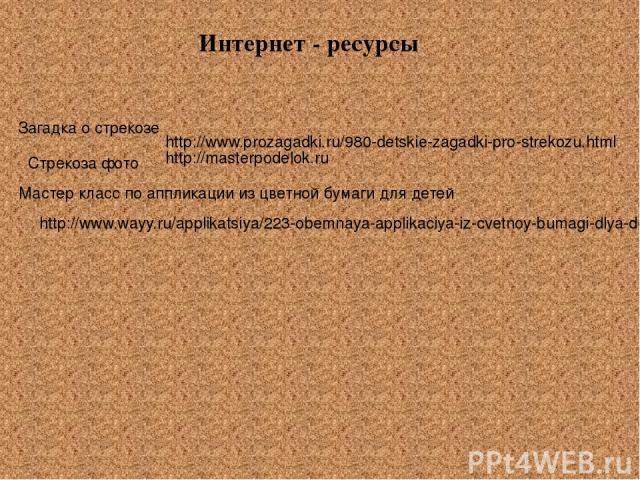 http://www.prozagadki.ru/980-detskie-zagadki-pro-strekozu.html Интернет - ресурсы Загадка о стрекозе http://masterpodelok.ru Стрекоза фото http://www.wayy.ru/applikatsiya/223-obemnaya-applikaciya-iz-cvetnoy-bumagi-dlya-detey-urok.html Мастер класс …