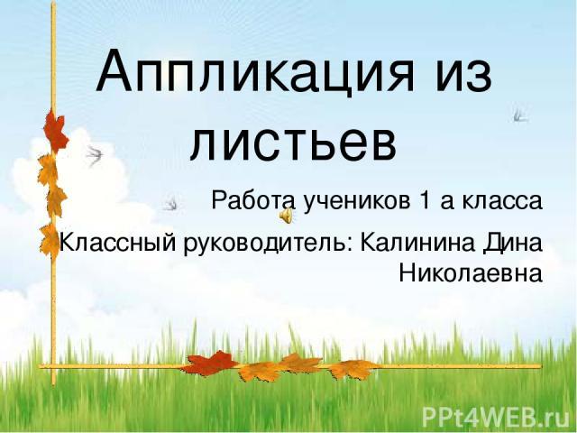 Аппликация из листьев Работа учеников 1 а класса Классный руководитель: Калинина Дина Николаевна