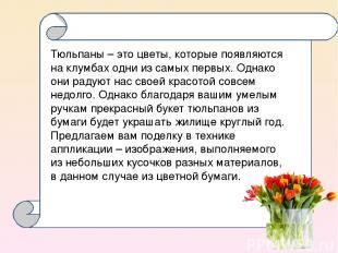 Тюльпаны – это цветы, которые появляются на клумбах одни из самых первых. Однако
