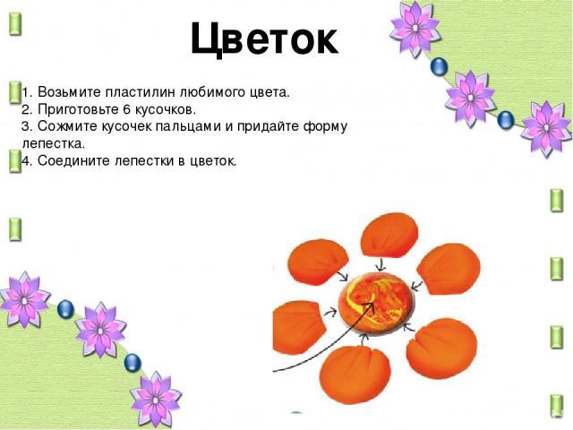Цветок 1. Возьмите пластилин любимого цвета. 2. Приготовьте 6 кусочков. 3. Сожмите кусочек пальцами и придайте форму лепестка. 4. Соедините лепестки в цветок.