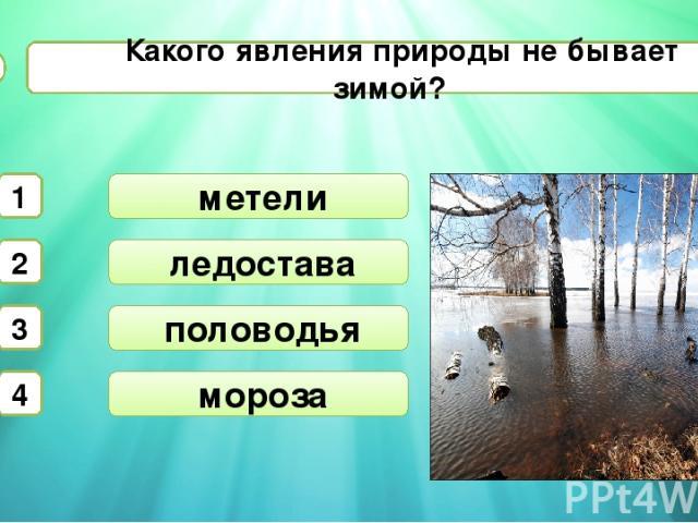 ледостава половодья Какого явления природы не бывает зимой? А3 метели 1 2 3 4 мороза