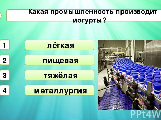пищевая тяжёлая Какая промышленность производит йогурты? А6 лёгкая 1 2 3 4 металлургия