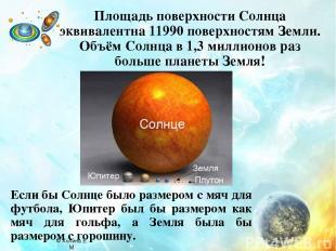Площадь поверхности Солнца эквивалентна 11990 поверхностям Земли. Объём Солнца в