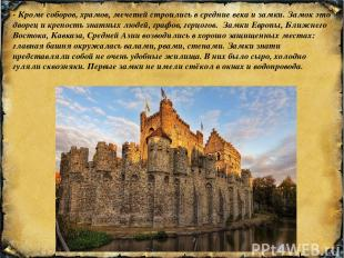 - Кроме соборов, храмов, мечетей строились в средние века и замки. Замок это дво