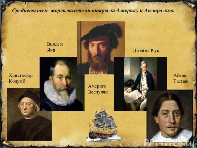 Средневековые мореплаватели открыли Америку и Австралию. Христофор Колумб Виллем Янц Абель Тасман Джеймс Кук Америго Веспуччи