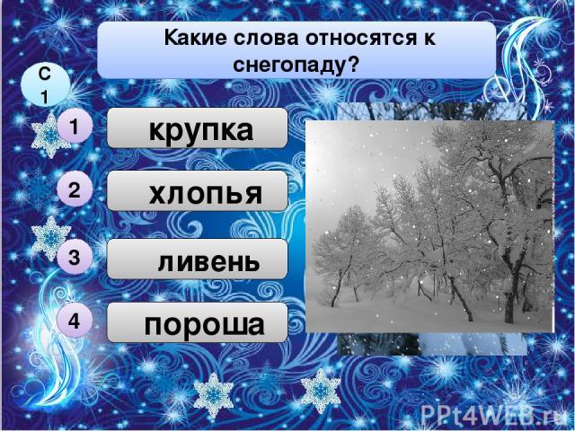 пороша хлопья ливень Какие слова относятся к снегопаду? 3 С1 4 2 крупка 1