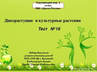 Дикорастущие и культурные растения Работу выполнила: учитель начальных классов М