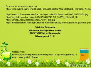 Ссылки на интернет-ресурсы http://lines.svb28.ru/im_line/8bc5751b36aa55b03faa72c
