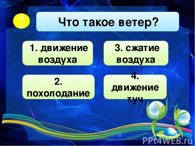 Что такое ветер? А2 3. сжатие воздуха 2. похолодание 4. движение туч 1. движение воздуха