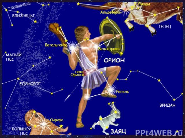 Какое созвездие названо в честь охотника из древнегреческих мифов? В1 1. Водолей 2. Кассиопея 3. Лев 4. Орион