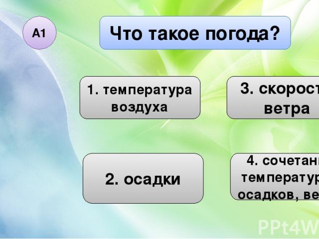 Что такое погода? А1 1. температура воздуха 2. осадки 3. скорость ветра 4. сочетание температуры, осадков, ветра