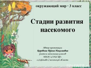Стадии развития насекомого Автор презентации Коровина Ирина Николаевна учитель н
