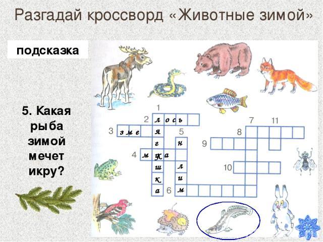Разгадай кроссворд «Животные зимой» 5. Какая рыба зимой мечет икру? лягушка о с ь з м е м х а н лим подсказка