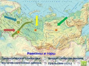 Уральские горы Восточно-европейская равнина Западно-сибирская равнина Среднесиби