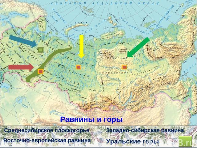 Уральские горы Восточно-европейская равнина Западно-сибирская равнина Среднесибирское плоскогорье Равнины и горы