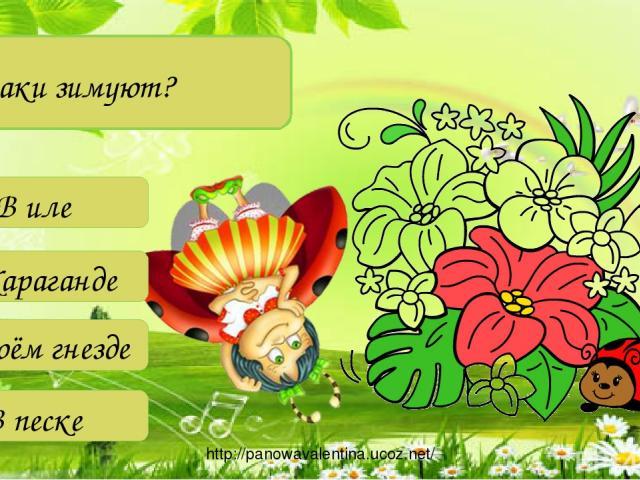 Где раки зимуют? В иле В Караганде В своём гнезде В песке http://panowavalentina.ucoz.net/