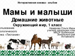 Мамы и малыши Домашние животные Окружающий мир, 1 класс Неверова Ольга Ивановна