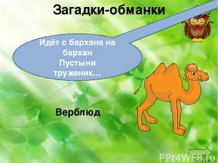 Загадки-обманки Идёт с бархана на бархан Пустыни труженик… Верблюд Ekaterina0504