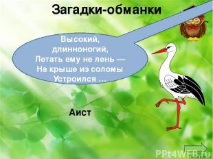 Загадки-обманки Высокий, длинноногий, Летать ему не лень — На крыше из соломы Ус
