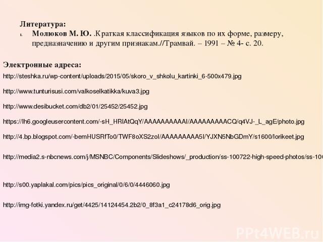 Литература: Молюков М. Ю. .Краткая классификация языков по их форме, размеру, предназначению и другим признакам.//Трамвай. – 1991 – № 4- с. 20. Электронные адреса: http://steshka.ru/wp-content/uploads/2015/05/skoro_v_shkolu_kartinki_6-500x479.jpg ht…