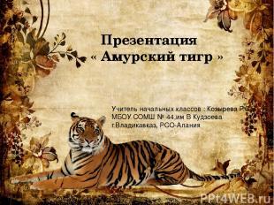Презентация « Амурский тигр » Учитель начальных классов : Козырева Р.С МБОУ СОМШ
