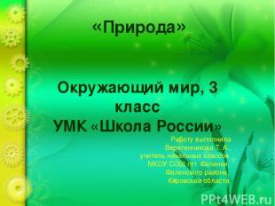 «Природа» Окружающий мир, 3 класс УМК «Школа России» Работу выполнила Веретенник