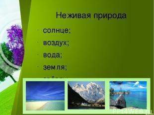 Неживая природа солнце; воздух; вода; земля; звёзды.