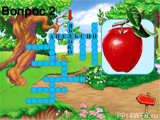 Вопрос 6 Что за фрукт на вкус хорош И на лампочку похож, Бок зеленый солнцем греет, Он желтеет и краснеет? А П Е Л Ь С И Н Я Б О К О Н А Н А С Л И В А М А Д А И Н Р Г Р У Ш