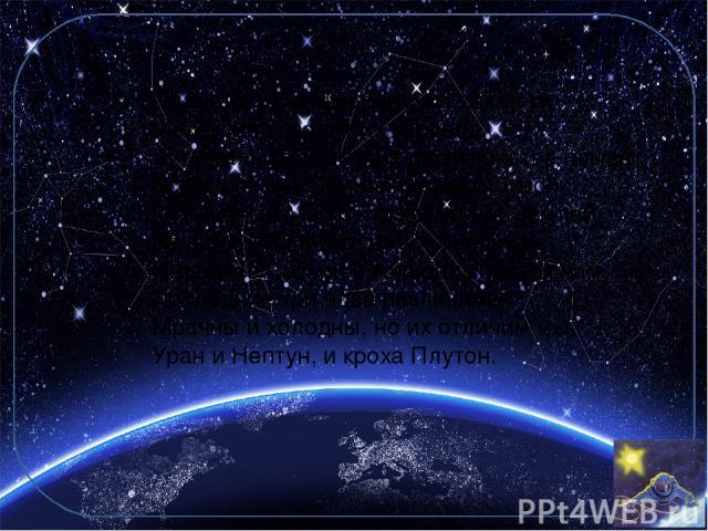 Планеты у Солнца танцуют как дети: Меркурий заводит их хоровод, Чуть дальше Венера в пространстве плывет. Встречаем мы Землю рядом с Луной И огненный Марс, что кружит за Землей. За ними – Юпитер, из всех великан, И дальше Сатурн в кольцах видится на…