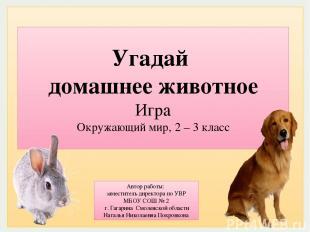 Угадай домашнее животное Игра Окружающий мир, 2 – 3 класс Автор работы: заместит