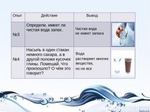 Чистая вода не имеет запаха Вода растворяет многие вещества, но не все Опыт Дейс