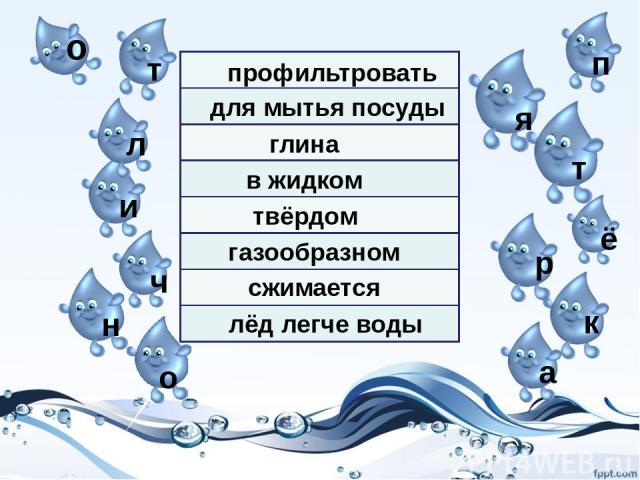 о т л и ч н о п я т ё р к а в жидком твёрдом газообразном профильтровать сжимается для мытья посуды глина лёд легче воды