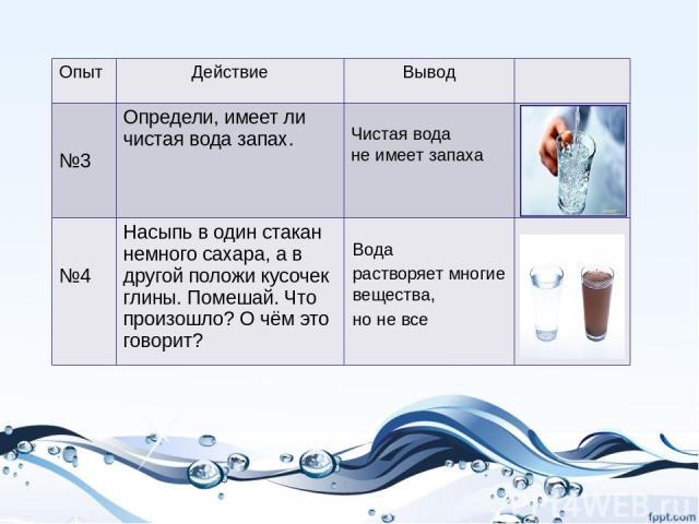 Чистая вода не имеет запаха Вода растворяет многие вещества, но не все Опыт Действие Вывод №3 Определи, имеет ли чистая вода запах. №4 Насыпь в один стакан немного сахара, а в другой положи кусочек глины. Помешай. Что произошло? О чём это говорит?