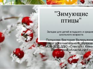 """""""Зимующие птицы"""" Загадки для детей младшего и среднего школьного возраста Полшко"""