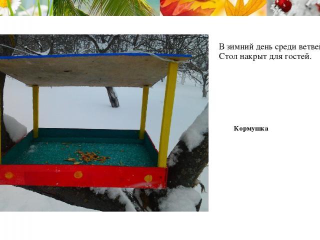 В зимний день среди ветвей Стол накрыт для гостей. Кормушка