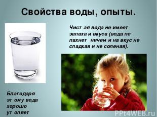 Свойства воды, опыты. Чистая вода не имеет запаха и вкуса (вода не пахнет ничем