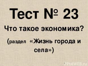 Тест № 23 Что такое экономика? (раздел «Жизнь города и села»)