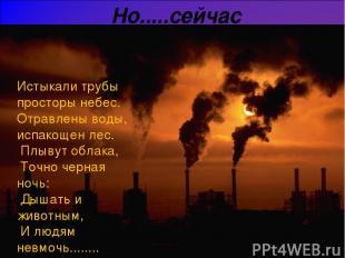 Но.....сейчас Истыкали трубы просторы небес. Отравлены воды, испакощен лес. Плыв