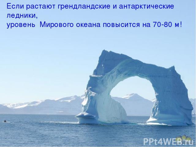 Если растают грендландские и антарктические ледники, уровень Мирового океана повысится на 70-80 м!